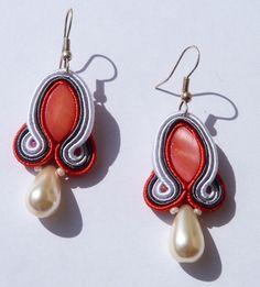 Pendientes Soutache Red Pearl de Las Cositas de Perica por DaWanda.com