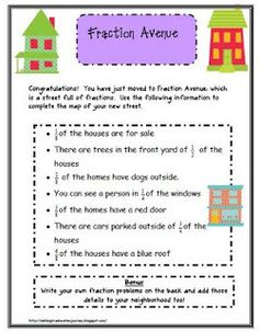 "FRACTIONS:  Printable ""Fraction Avenue"" worksheet and street.  (done)"