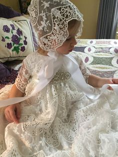 Savannah Lace Christening Gown and Hat. by DbinkieOriginals Lace Christening Gowns, Baptism Dress, Baby Christening, Blessing Dress, Gowns For Girls, Baby Bonnets, Gowns Of Elegance, Heirloom Sewing, Baby Kids Clothes
