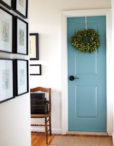 Paint door to garage a pretty color. That door is so hard to keep clean in white. Pretty paint color. love this idea!