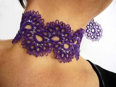 Purple tatting earrings with beads and necklace.. $40.00, via Etsy.