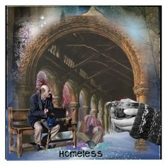 """""""Remember the homeless this holiday season"""" by jessicarabbit59 ❤ liked on Polyvore featuring art"""