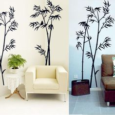 Diy Art Black Bamboo Quote Wall Stickers Decalque Mural Wall Sticker Para Home Office Bedroom Wall Stickers Decor