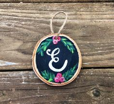 Hand-painted Monogram Wood Slice Ornament Monogram christmas