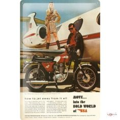 Tin Sign MOVE into the bold world of BSA Motorcycle Jet Airplane Man Woman 20×30 cm metal shield Wall Art Deco decoration retro Advertising ...http://bikeraa.com/tin-sign-move-into-the-bold-world-of-bsa-motorcycle-jet-airplane-man-woman-20x30-cm-metal-shield-wall-art-deco-decoration-retro-advertising-vintage/