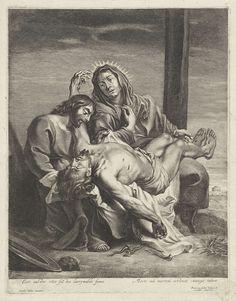 Anonymous | Bewening van Christus, Anonymous, Frans van den Wijngaerde, 1636 - 1679 | Het lichaam van Christus ligt bij de rouwende Maria op schoot. Zijn hoofd wordt door Johannes ondersteund. Achter hen het kruis. Voor hen liggen de passiewerktuigen. Onder in de marge een tweeregelig onderschrift over de voorstelling in het Latijn.