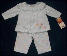 CARTER'S 6 mos Blue 2-Piece Top Shirt Pants Set Cotton Long Sleeve Butterflies #Carters #OutfitsSets