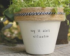 Du Has-Mint and pots available for your mint herb! Pot does not include plant. These hand painted and stamped pots are perfect for your indoor herb garden! All pots made by Plant Puns Outdoor Pots, Outdoor Gardens, Outdoor Ideas, Indoor Outdoor, Garden Planters, Herb Garden, Succulent Gardening, Garden Fun, Succulents Garden
