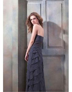Cheap Attractive Chiffon Sheath Strapless Beading Tiered Floor-Length Mother of the Bride Dress
