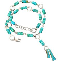 Kingman Turquoise Sterling Silver Necklace With Inlaid Pendant from muyifabu on Ruby Lane