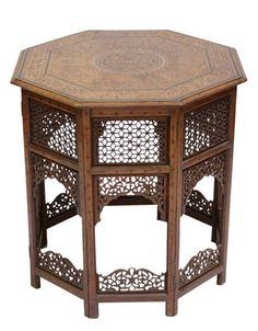 20th-C. Moorish Inlay Table