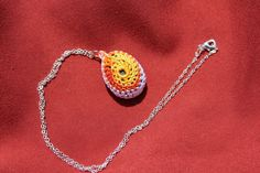 Summer Sunshine Crochet Stone Pendant by FuchsiaFoxStudio on Etsy