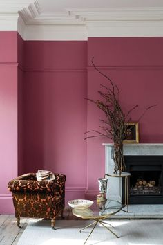British paint manufacturer Farrow & Ball has expanded its extensive color card with nine new shades. Carefully chosen to balance Farrow & Ball'. Mauve Walls, Pink Bedroom Walls, Pink Room, Pink Walls, Magenta Walls, Pink Bedrooms, Farrow Ball, Good Living Room Colors, Living Room Color Schemes