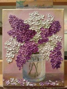 Purple and white lilac in an Original glass bowl- Púrpura y blanco lila en un recipiente de vidrio Original Purple and white lilac in an Original glass bowl – - Sculpture Painting, Art Et Illustration, Acrylic Art, Acrylic Paintings, Learn To Paint, Diy Art, Wood Art, Flower Art, Art Drawings