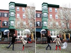 cute rainy boston engagement session