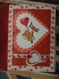 #Valetinesday #card I made #cardmaking #papercrafting #stamping #valentinesdaycard #cat