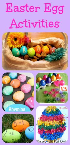 Easter egg activities, an egg shell craft, game to practice math skills, rhyming, and focusing on Jesus.