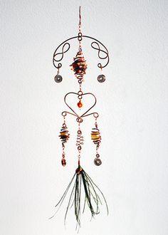 Hanging Mobile Heart Shaped Beaded Suncatcher Copper Wire Art Housewarming Gift Bohemian Decor. €59.50, via Etsy.