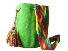 Vivid Green Wayuu Mochila #mochila #wayuu #unicolor