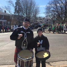 chicagopipeband... Mr. Hoinacki with his student Cal marching for the first time at the Northwest Side Irish Parade #thecapd #drumlessons #chicago #pipeband #stpatricksday #parade #northwestsideirishparade