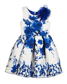 -64XR Zoe Sleeveless Floral Brocade Party Dress, White/Royal