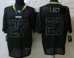 375d55b5165 Nike Green Bay Packers  27 Eddie Lacy Lights Out Black Elite Jersey Eddie  Lacy
