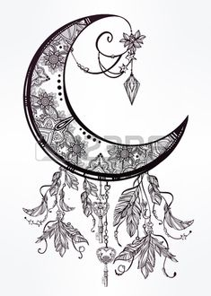 Intricate hand drawn ornate crescent moon with feathers, gemstones. Isolated Vector illustration.Tattoo art, astrology, spirituality, alchemy, magic symbol. Ethnic, mystic tribal element for your use