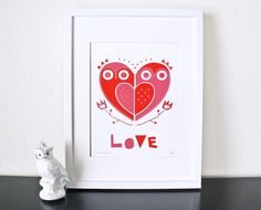 owl love screenprint