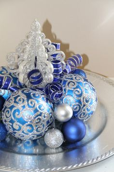 Unique Christmas Centerpiece  Blue and by PreserveMyMemories, $39.00