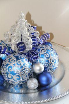 Unique Christmas Centerpiece  Blue and by PreserveMyMemories, $39.00