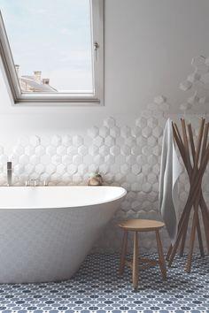 Dimensional Wall Tiles - Home Designs Contemporary Bathrooms, Modern Bathroom, Bathroom Gallery, Bathroom Renovations, House Renovations, Bathroom Interior Design, Bathroom Inspiration, Bathroom Ideas, Bathroom Vanities