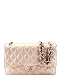 Chanel Vintage Gold Quilted Metallic Leather Classic Flap Jumbo