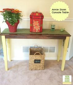 Turn a cheap unfinished console table into this beauty with chalk paint!
