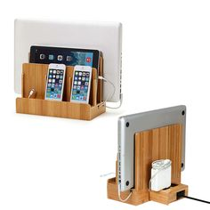 Bamboo smart multi-device charging station with usb+ac power hub. Multi Charging Station, Electronic Charging Station, Docking Station, Charging Stations, Charging Station Organizer, Ipad, Ac Power, Power Strip, Power Cable