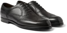 $552, Black Leather Brogues: Bottega Veneta Leather Oxford Brogues. Sold by MR PORTER. Click for more info: http://lookastic.com/men/shop_items/41081/redirect
