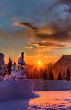 **Beautiful winter sunset in Carpathian mountings  , W  Ukraine ,  from Iryna