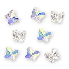 SWAROVSKI ELEMENTS Crystal Beads, #5754 Butterfly, 6mm, 8 Pieces, Crystal AB…