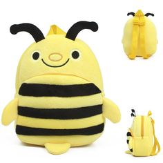 2015 New style Baby lovely cartoon character school bag kids yellow bee design plush backpack boys and girls toys mini cute bags