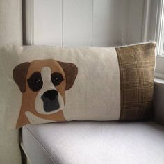 Handmade Boxer dog cushion with mixed brown tweeds on a natural linen. Backed with a soft grey wool woven in Wales, overlocked seams and a concealed zip. As each cushion is handmade the wools may vary very slightly from the picture - although I alway. Dog Cushions, Linen Pillows, Decorative Pillows, Boxer Dog Puppy, Living With Dogs, Wool Applique, Machine Applique, Couture, Sewing Projects