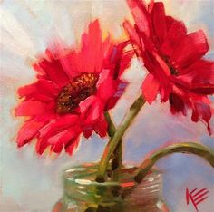 Daisies in Jar - Original Fine Art for Sale - © by Krista Eaton