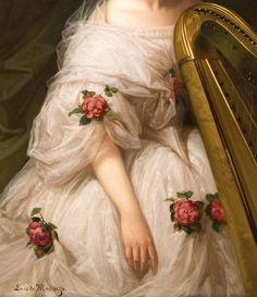 """""""Portrait of a Woman"""" (detail) by Luis de Madrazo (1825-1897)."""