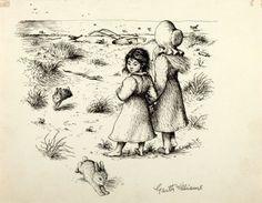 Little House  Garth Williams Illustrations   Garth Williams (1912-1996), illustrator. SIGNED. Preliminary Ink Study ...