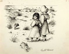 Little House  Garth Williams Illustrations | Garth Williams (1912-1996), illustrator. SIGNED. Preliminary Ink Study ...