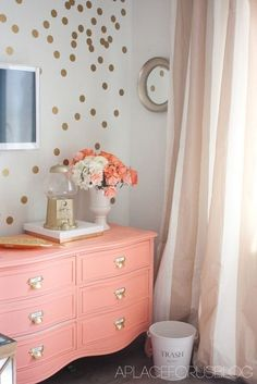 Coral dresser for coral and gold bedroom. Coral Furniture, Mirrored Furniture, Bedroom Furniture, Wood Furniture, Coral Dresser, Colored Dresser, Baby Dresser, Polka Dot Walls, Polka Dots
