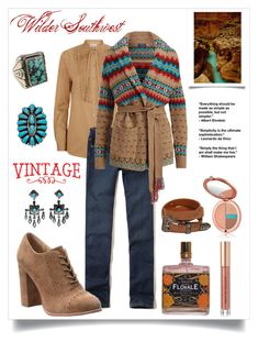 """Wilder Southwest:  January Ranch"" by wildersouthwest ❤ liked on Polyvore featuring Temperley London, Hollister Co., Isolá, Yves Saint Laurent, Estée Lauder, Kevyn Aucoin, Natalie B, western, southwestern and southwest"