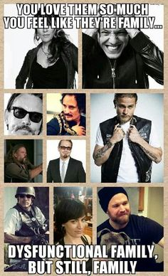 You Love them so much you feel like they're family. dysfunctional family, but still, family Sons of Anarchy Soa Cast, Sons Of Anarchy Samcro, Sons Of Anarchy Motorcycles, Theo Rossi, Tommy Flanagan, Ryan Hurst, Charlie Hunnam Soa, Jax Teller, Gemma Teller