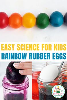 Kids will love this rainbow variation on the classic egg in vinegar science fair project. Dont just make naked rubber eggs, make rainbow rubber eggs! Kindergarten Science Experiments, Easy Science Experiments, Science Fair Projects, Preschool Science, Science Crafts, Weird Science, School Projects, Science Activities For Kids, Stem Activities
