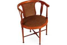 French corner chair with mahogany-inlay detail, velvet fabric, and nailhead details.