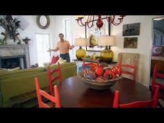 "LOVE the ""garden tool collage"" on the wall! Living Room Reveal 