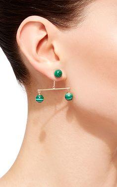 14 K Yellow Gold Mlachite Balance Earring by MATEO for Preorder on Moda Operandi
